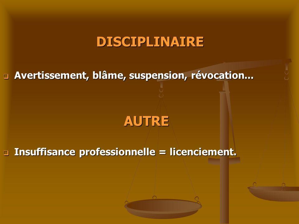 DISCIPLINAIRE Avertissement, blâme, suspension, révocation... Avertissement, blâme, suspension, révocation... AUTRE AUTRE Insuffisance professionnelle