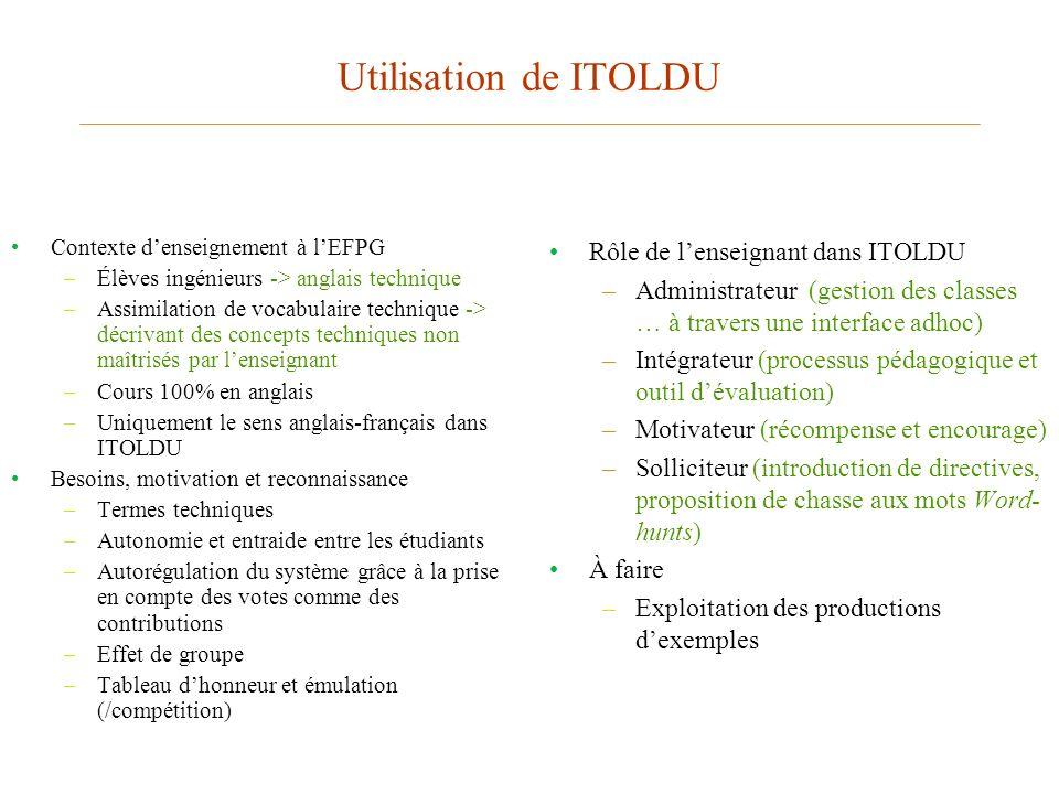 Utilisation de ITOLDU Contexte denseignement à lEFPG –Élèves ingénieurs -> anglais technique –Assimilation de vocabulaire technique -> décrivant des c