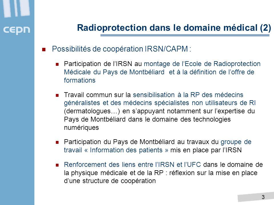 3 Radioprotection dans le domaine médical (2) Possibilités de coopération IRSN/CAPM : Participation de lIRSN au montage de lEcole de Radioprotection M