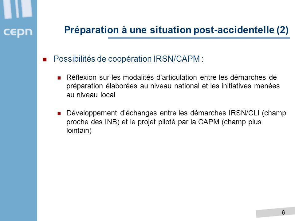 6 Possibilités de coopération IRSN/CAPM : Réflexion sur les modalités darticulation entre les démarches de préparation élaborées au niveau national et