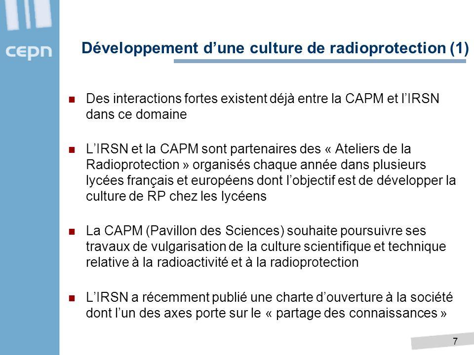 7 Des interactions fortes existent déjà entre la CAPM et lIRSN dans ce domaine LIRSN et la CAPM sont partenaires des « Ateliers de la Radioprotection