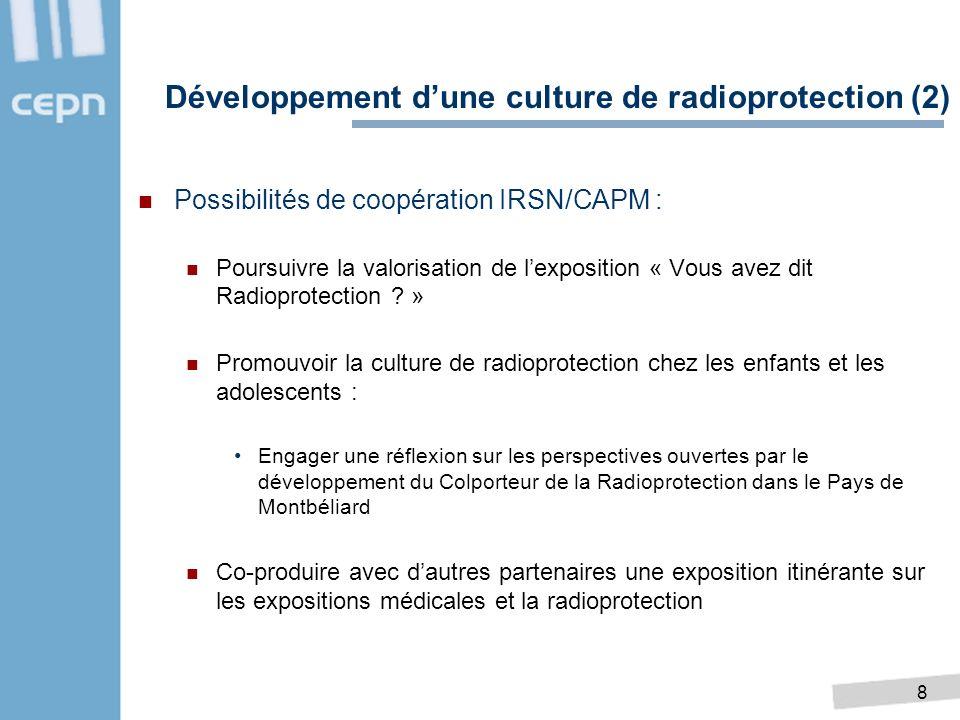 8 Possibilités de coopération IRSN/CAPM : Poursuivre la valorisation de lexposition « Vous avez dit Radioprotection ? » Promouvoir la culture de radio