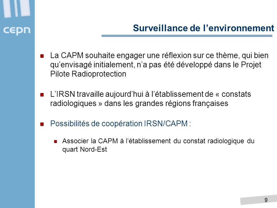 9 La CAPM souhaite engager une réflexion sur ce thème, qui bien quenvisagé initialement, na pas été développé dans le Projet Pilote Radioprotection LI