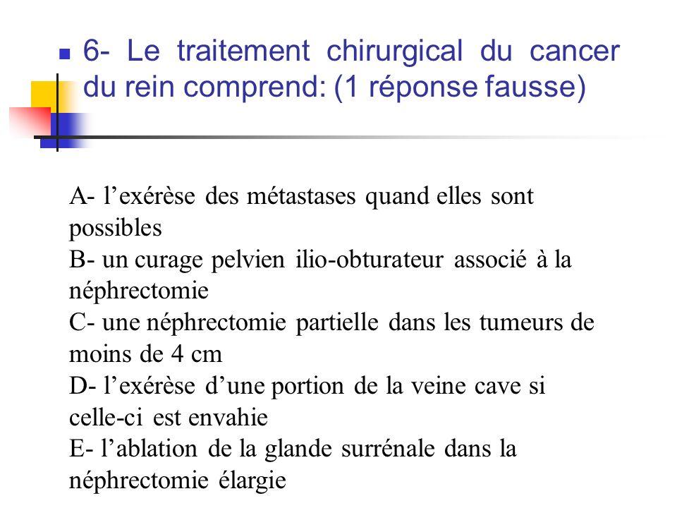 6- Le traitement chirurgical du cancer du rein comprend: (1 réponse fausse) A- lexérèse des métastases quand elles sont possibles B- un curage pelvien