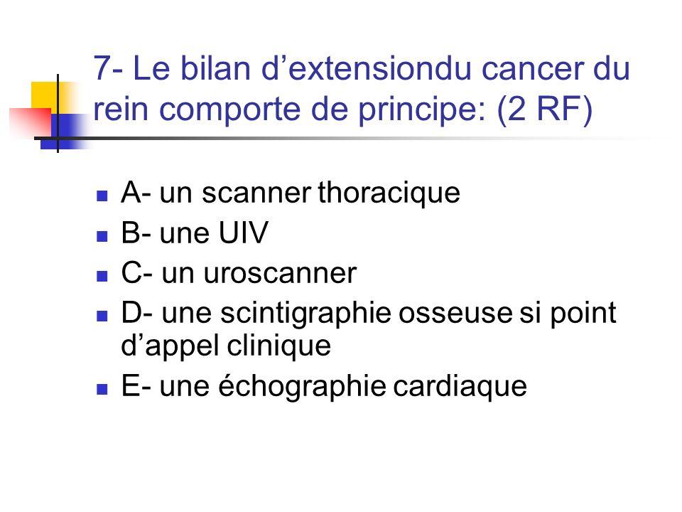 7- Le bilan dextensiondu cancer du rein comporte de principe: (2 RF) A- un scanner thoracique B- une UIV C- un uroscanner D- une scintigraphie osseuse