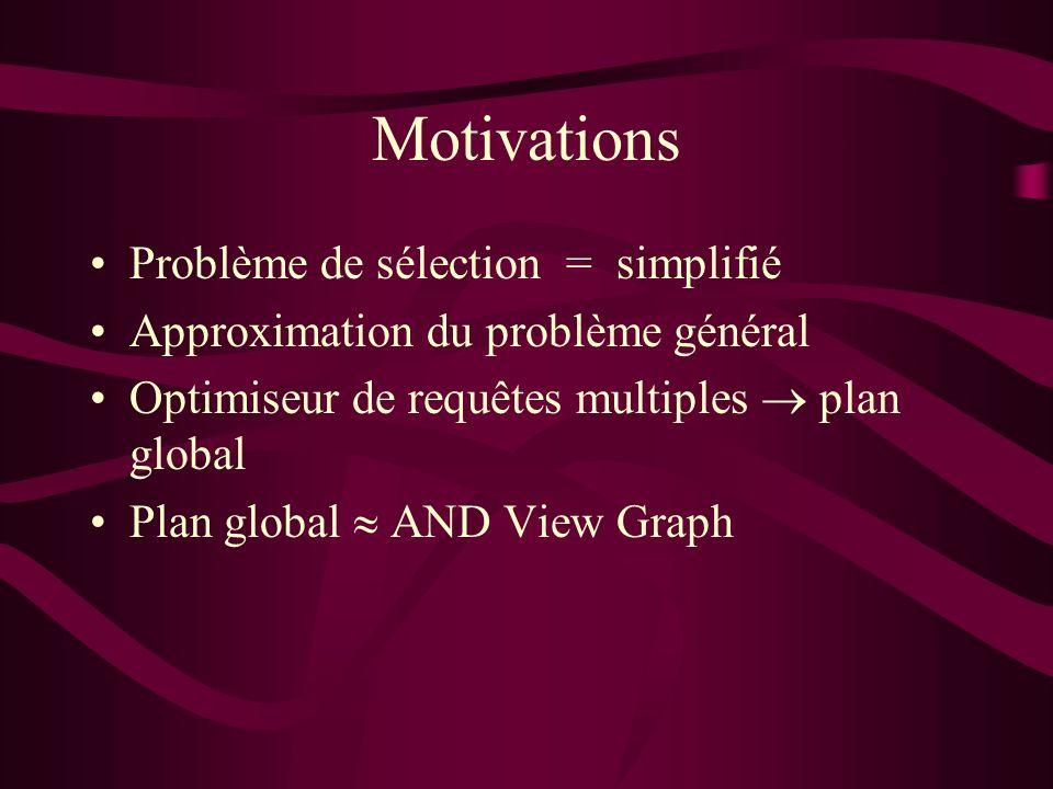 Motivations Problème de sélection = simplifié Approximation du problème général Optimiseur de requêtes multiples plan global Plan global AND View Graph