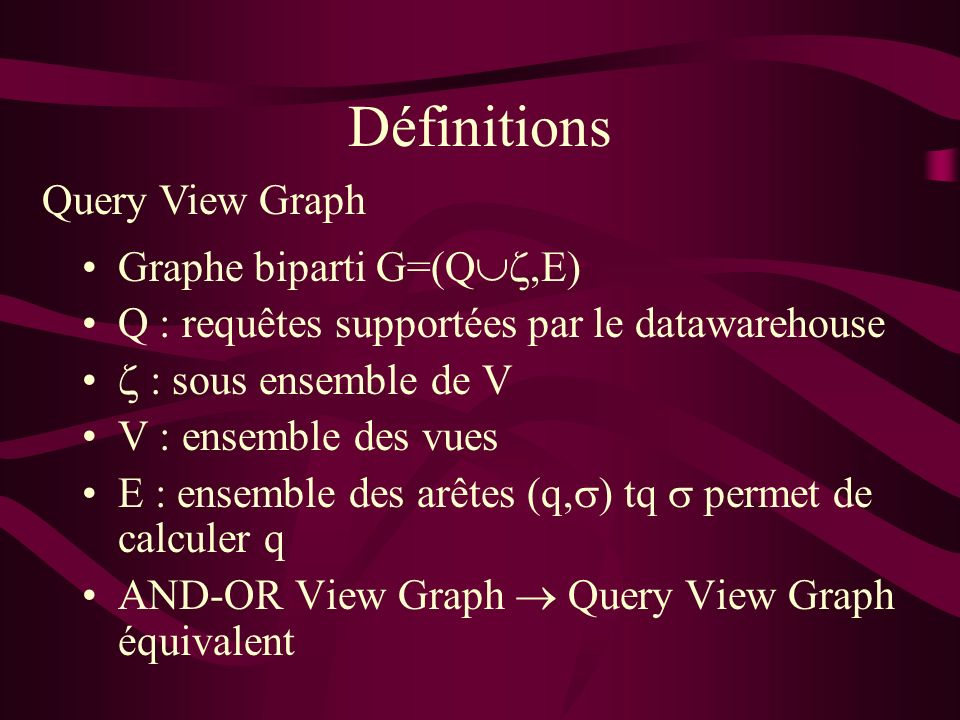 Définitions Graphe biparti G=(Q,E) Q : requêtes supportées par le datawarehouse : sous ensemble de V V : ensemble des vues E : ensemble des arêtes (q, ) tq permet de calculer q AND-OR View Graph Query View Graph équivalent Query View Graph