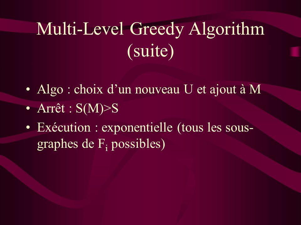 Multi-Level Greedy Algorithm (suite) Algo : choix dun nouveau U et ajout à M Arrêt : S(M)>S Exécution : exponentielle (tous les sous- graphes de F i possibles)