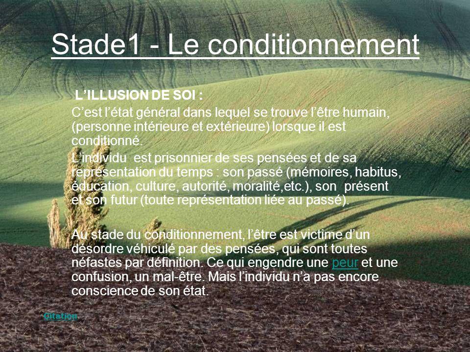 Stade1 - Le conditionnement LILLUSION DE SOI : Cest létat général dans lequel se trouve lêtre humain, (personne intérieure et extérieure) lorsque il est conditionné.