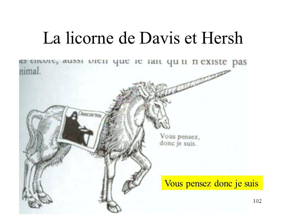 H. Habrias 2006102 La licorne de Davis et Hersh Vous pensez donc je suis