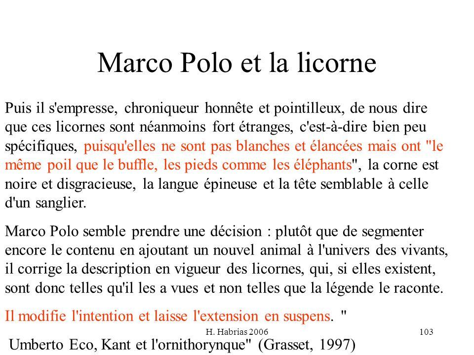 H. Habrias 2006103 Marco Polo et la licorne Puis il s'empresse, chroniqueur honnête et pointilleux, de nous dire que ces licornes sont néanmoins fort