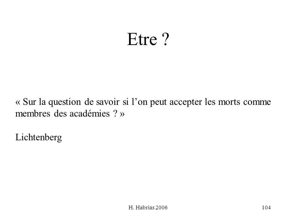 H. Habrias 2006104 Etre ? « Sur la question de savoir si lon peut accepter les morts comme membres des académies ? » Lichtenberg