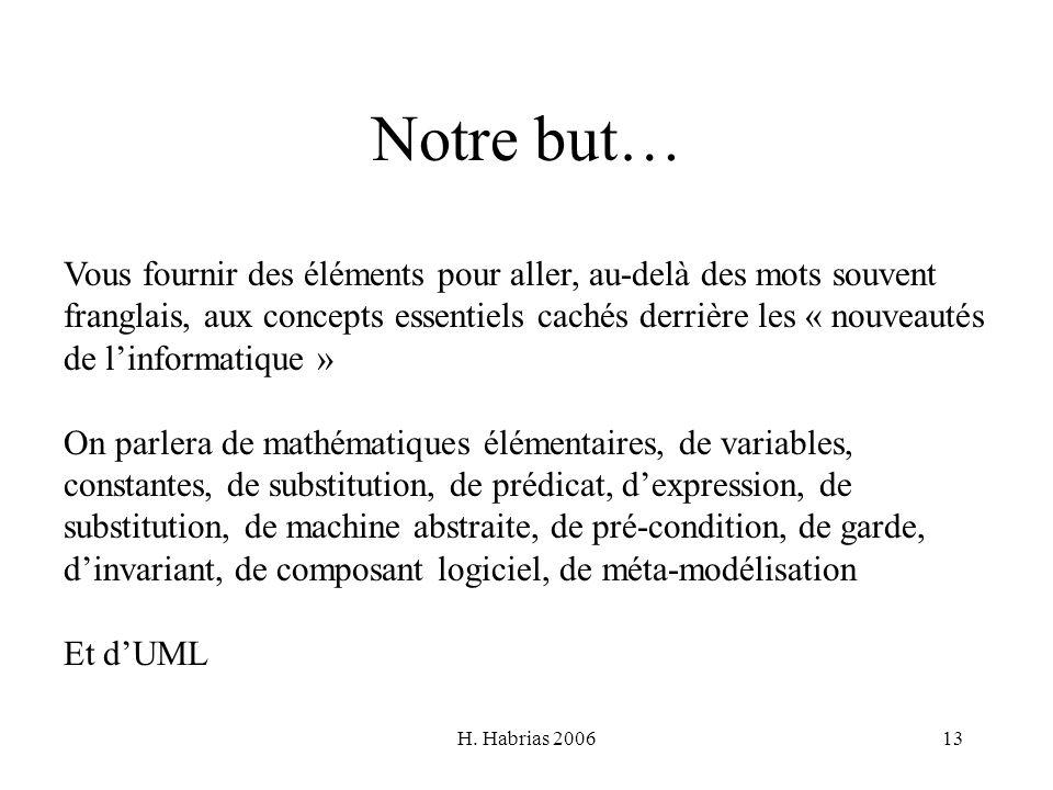H. Habrias 200613 Notre but… Vous fournir des éléments pour aller, au-delà des mots souvent franglais, aux concepts essentiels cachés derrière les « n