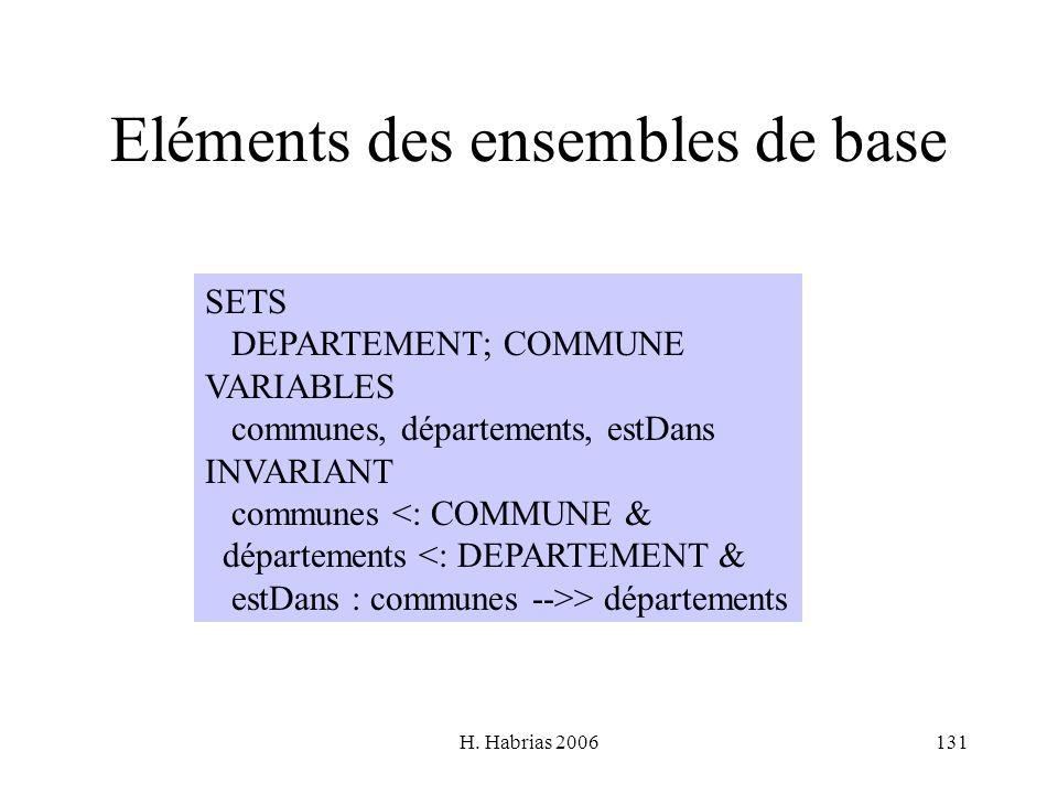 H. Habrias 2006131 Eléments des ensembles de base SETS DEPARTEMENT; COMMUNE VARIABLES communes, départements, estDans INVARIANT communes <: COMMUNE &