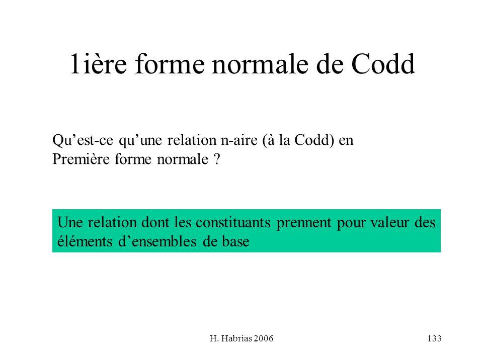 H. Habrias 2006133 1ière forme normale de Codd Quest-ce quune relation n-aire (à la Codd) en Première forme normale ? Une relation dont les constituan