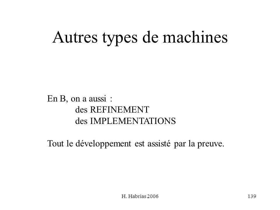 H. Habrias 2006139 Autres types de machines En B, on a aussi : des REFINEMENT des IMPLEMENTATIONS Tout le développement est assisté par la preuve.