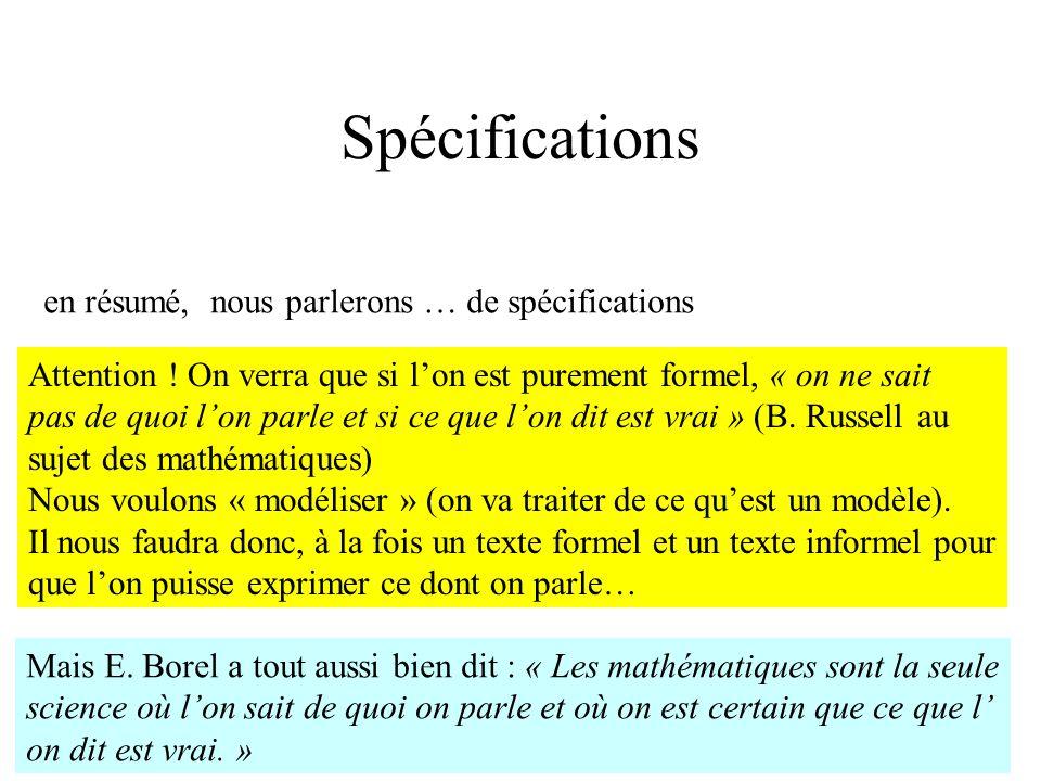 H. Habrias 200614 Spécifications en résumé, nous parlerons … de spécifications Attention ! On verra que si lon est purement formel, « on ne sait pas d
