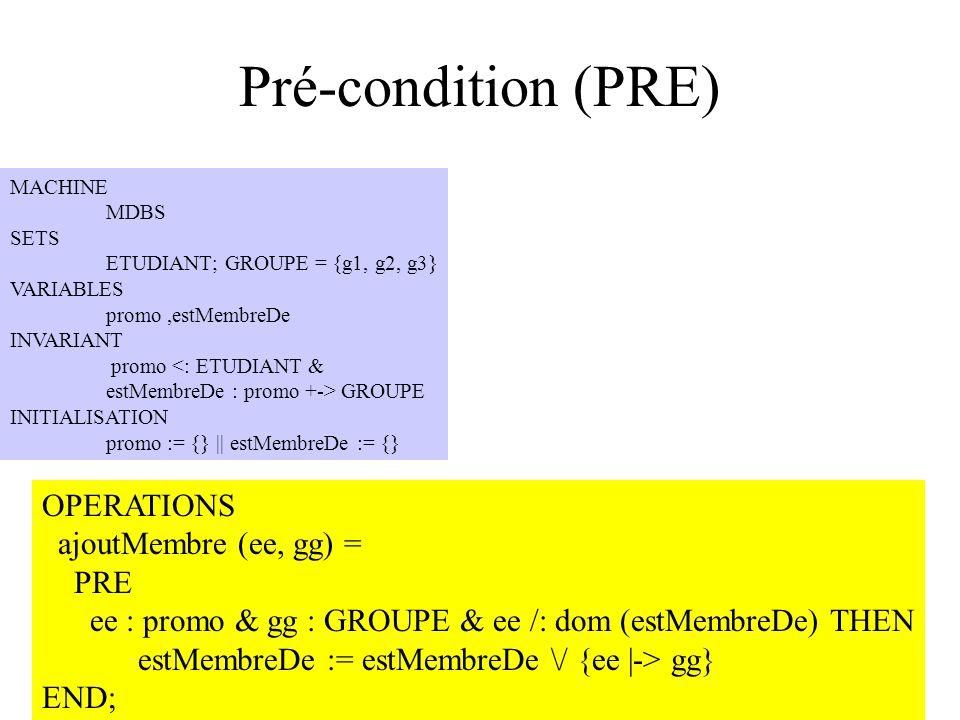 H. Habrias 2006141 Pré-condition (PRE) MACHINE MDBS SETS ETUDIANT; GROUPE = {g1, g2, g3} VARIABLES promo,estMembreDe INVARIANT promo <: ETUDIANT & est