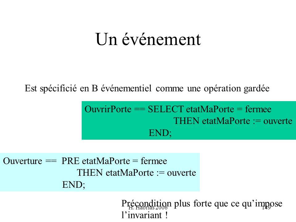 H. Habrias 2006149 Un événement Est spécificié en B événementiel comme une opération gardée OuvrirPorte == SELECT etatMaPorte = fermee THEN etatMaPort