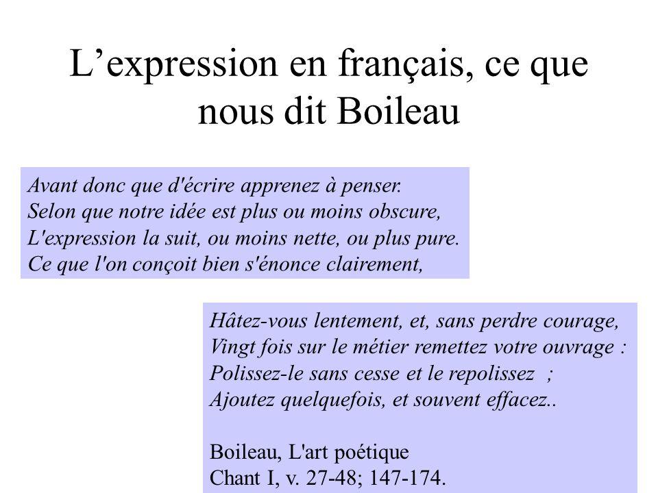 H. Habrias 200615 Lexpression en français, ce que nous dit Boileau Avant donc que d'écrire apprenez à penser. Selon que notre idée est plus ou moins o