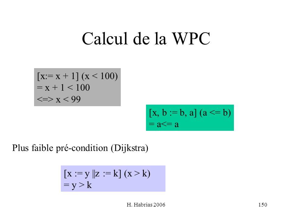 H. Habrias 2006150 Calcul de la WPC [x:= x + 1] (x < 100) = x + 1 < 100 x < 99 [x := y ||z := k] (x > k) = y > k [x, b := b, a] (a <= b) = a<= a Plus