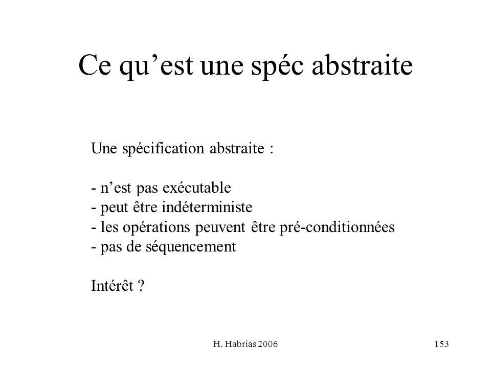 H. Habrias 2006153 Ce quest une spéc abstraite Une spécification abstraite : - nest pas exécutable - peut être indéterministe - les opérations peuvent