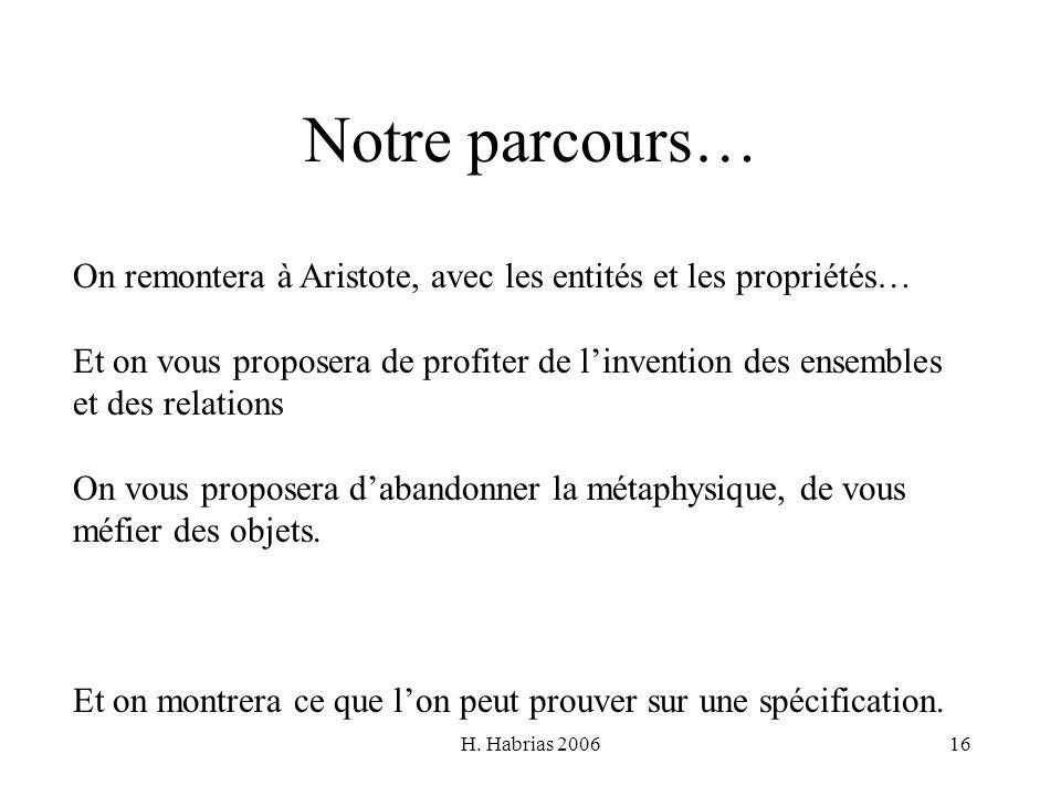 H. Habrias 200616 Notre parcours… On remontera à Aristote, avec les entités et les propriétés… Et on vous proposera de profiter de linvention des ense