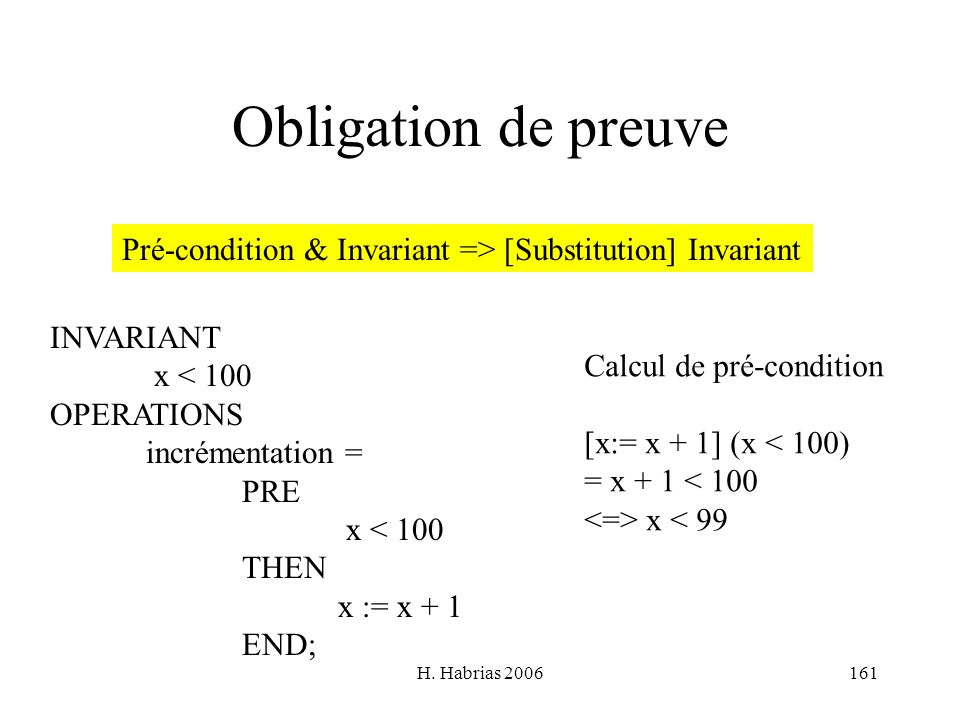 H. Habrias 2006161 Obligation de preuve Pré-condition & Invariant => [Substitution] Invariant INVARIANT x < 100 OPERATIONS incrémentation = PRE x < 10