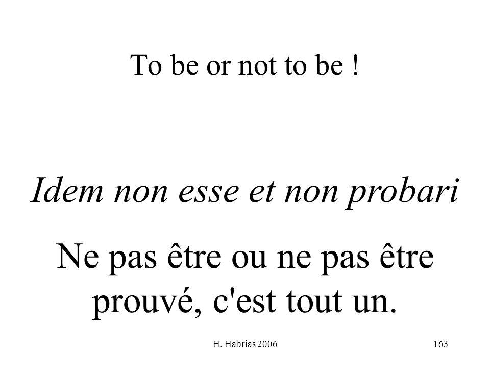 H. Habrias 2006163 To be or not to be ! Idem non esse et non probari Ne pas être ou ne pas être prouvé, c'est tout un.