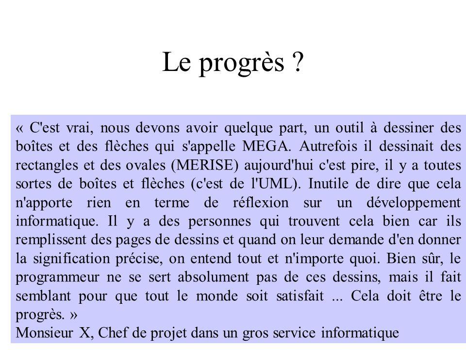 H. Habrias 2006174 Le progrès ? « C'est vrai, nous devons avoir quelque part, un outil à dessiner des boîtes et des flèches qui s'appelle MEGA. Autref