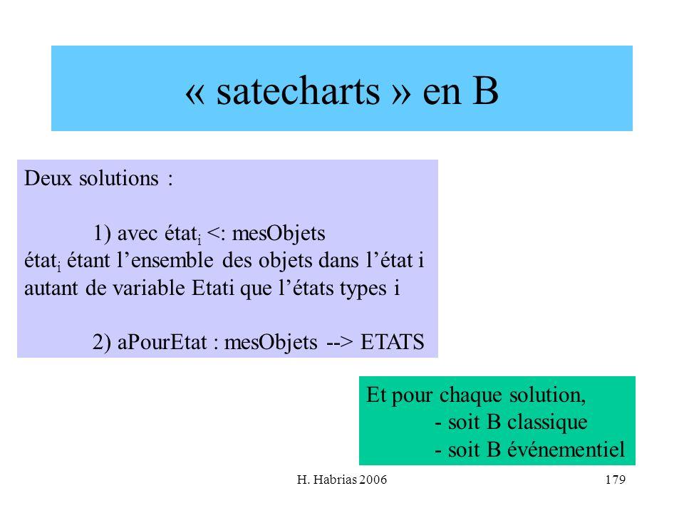 H. Habrias 2006179 « satecharts » en B Deux solutions : 1) avec état i <: mesObjets état i étant lensemble des objets dans létat i autant de variable