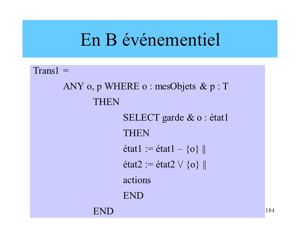 H. Habrias 2006184 En B événementiel Trans1 = ANY o, p WHERE o : mesObjets & p : T THEN SELECT garde & o : état1 THEN état1 := état1 – {o} || état2 :=