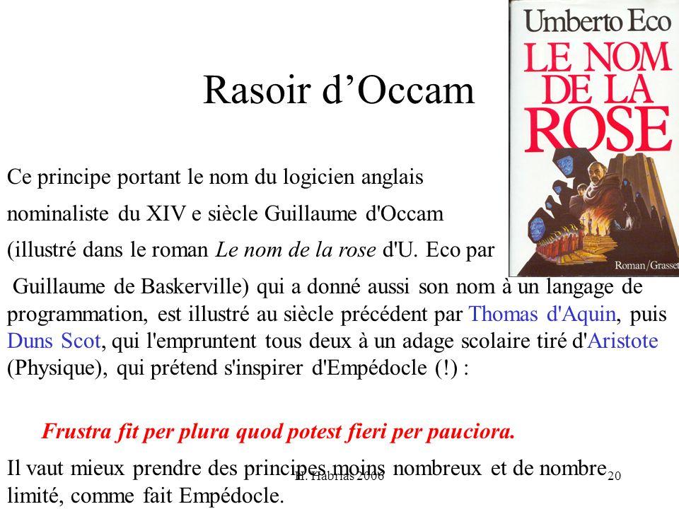 H. Habrias 200620 Rasoir dOccam Ce principe portant le nom du logicien anglais nominaliste du XIV e siècle Guillaume d'Occam (illustré dans le roman L