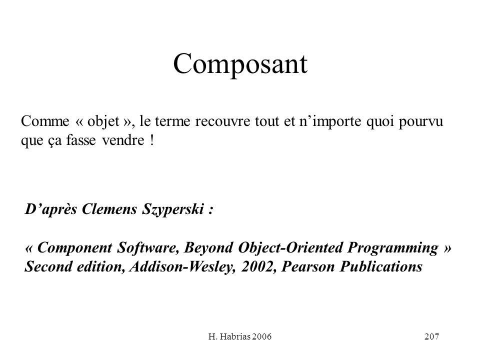 H. Habrias 2006207 Composant Comme « objet », le terme recouvre tout et nimporte quoi pourvu que ça fasse vendre ! Daprès Clemens Szyperski : « Compon