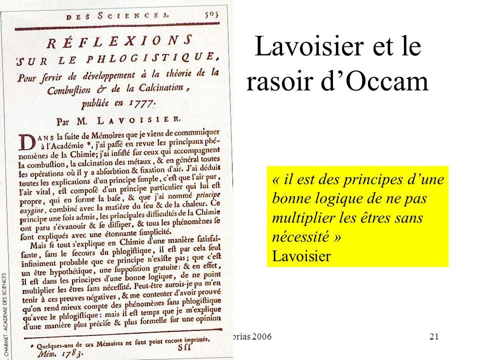 H. Habrias 200621 Lavoisier et le rasoir dOccam « il est des principes dune bonne logique de ne pas multiplier les êtres sans nécessité » Lavoisier