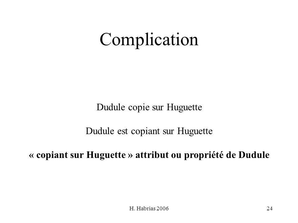 H. Habrias 200624 Complication Dudule copie sur Huguette Dudule est copiant sur Huguette « copiant sur Huguette » attribut ou propriété de Dudule