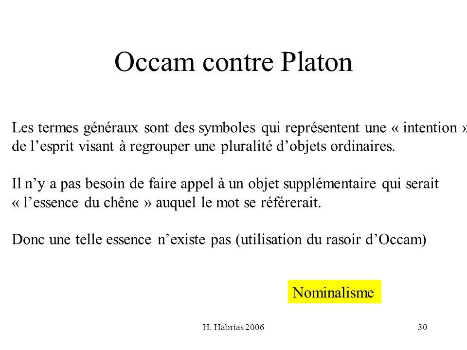 H. Habrias 200630 Occam contre Platon Les termes généraux sont des symboles qui représentent une « intention » de lesprit visant à regrouper une plura