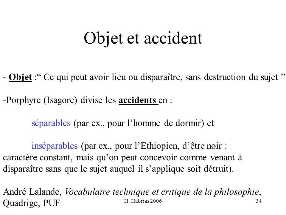 H. Habrias 200634 Objet et accident - Objet : Ce qui peut avoir lieu ou disparaître, sans destruction du sujet -Porphyre (Isagore) divise les accident
