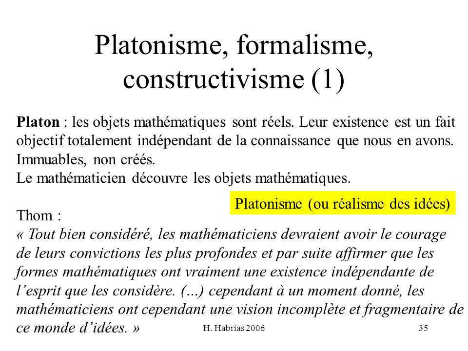 H. Habrias 200635 Platonisme, formalisme, constructivisme (1) Platon : les objets mathématiques sont réels. Leur existence est un fait objectif totale