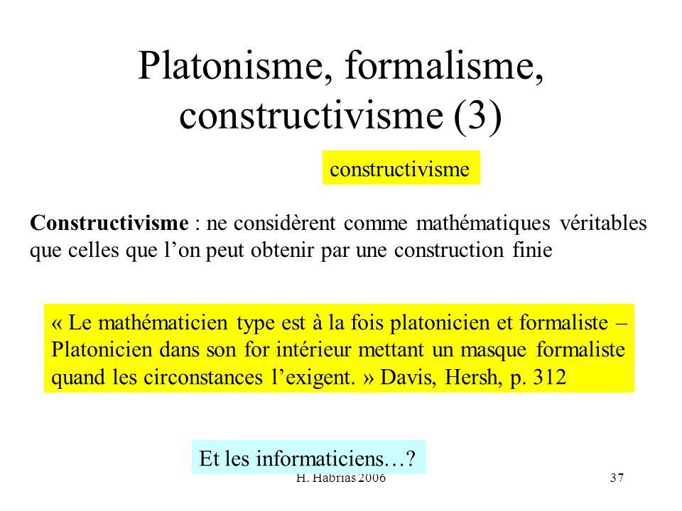 H. Habrias 200637 Platonisme, formalisme, constructivisme (3) Constructivisme : ne considèrent comme mathématiques véritables que celles que lon peut
