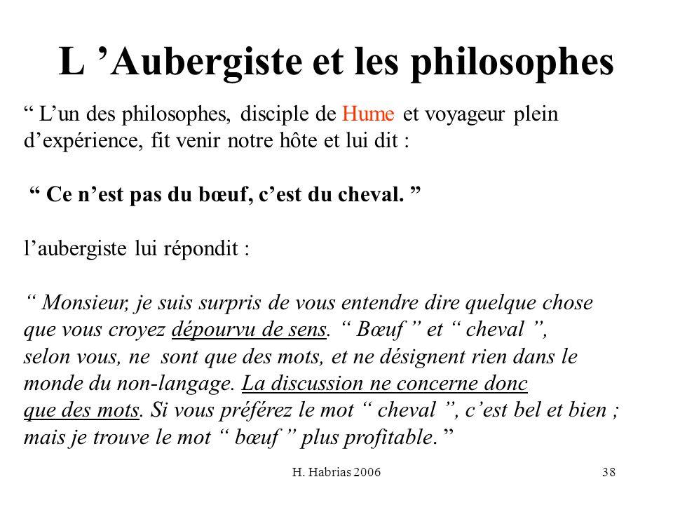H. Habrias 200638 L Aubergiste et les philosophes Lun des philosophes, disciple de Hume et voyageur plein dexpérience, fit venir notre hôte et lui dit