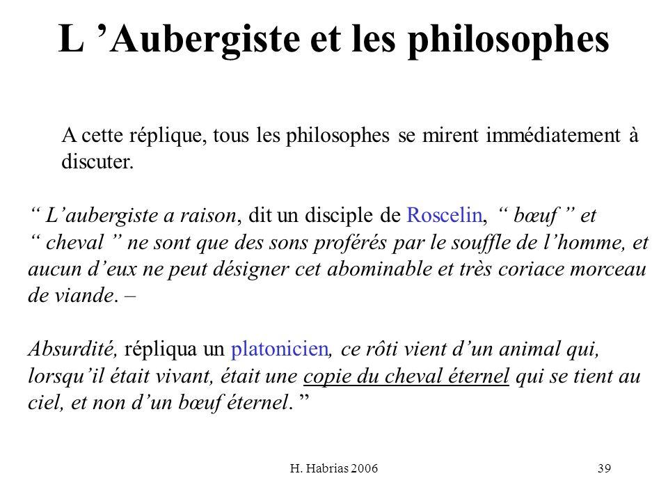 H. Habrias 200639 L Aubergiste et les philosophes A cette réplique, tous les philosophes se mirent immédiatement à discuter. Laubergiste a raison, dit