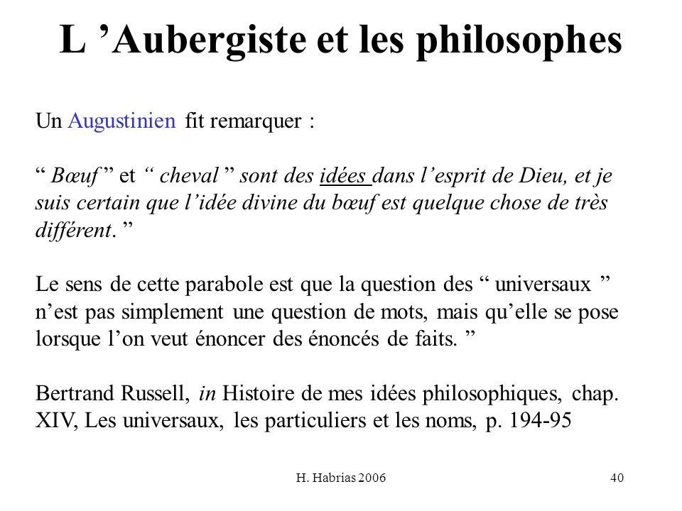 H. Habrias 200640 L Aubergiste et les philosophes Un Augustinien fit remarquer : Bœuf et cheval sont des idées dans lesprit de Dieu, et je suis certai