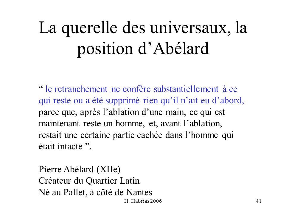 H. Habrias 200641 La querelle des universaux, la position dAbélard le retranchement ne confère substantiellement à ce qui reste ou a été supprimé rien