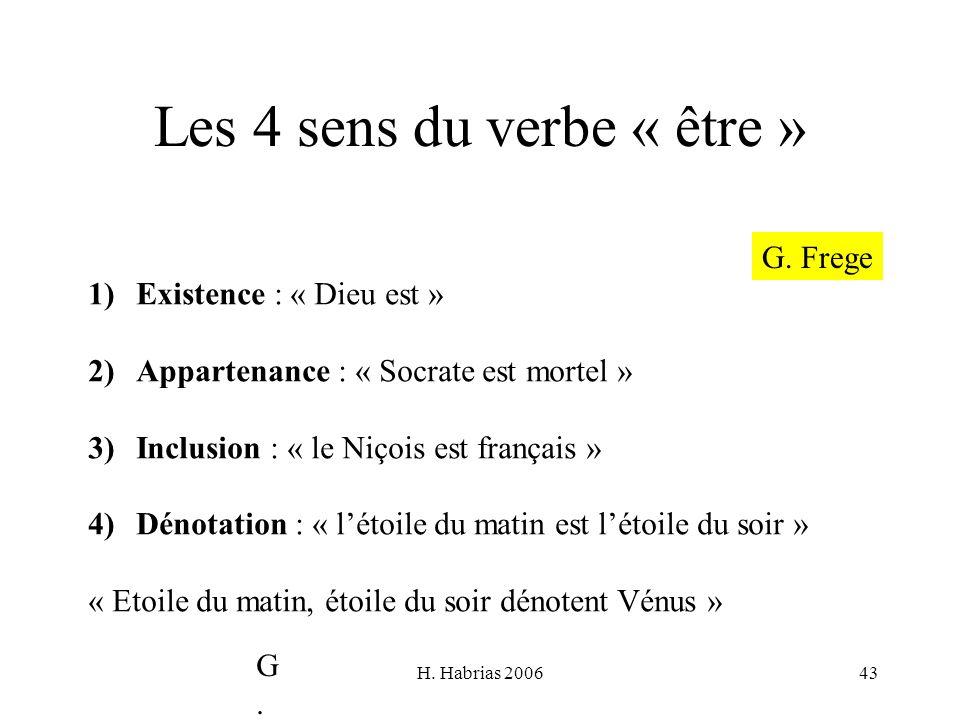 H. Habrias 200643 Les 4 sens du verbe « être » 1)Existence : « Dieu est » 2)Appartenance : « Socrate est mortel » 3)Inclusion : « le Niçois est frança