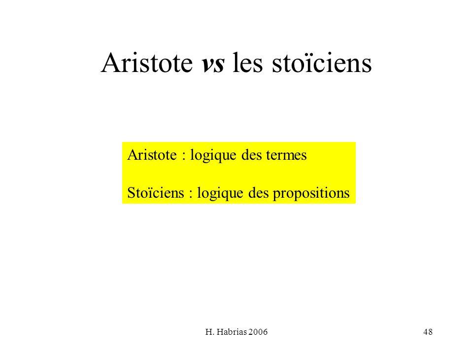 H. Habrias 200648 Aristote vs les stoïciens Aristote : logique des termes Stoïciens : logique des propositions