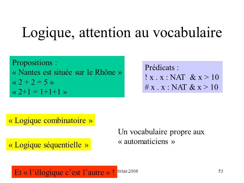 H. Habrias 200653 Logique, attention au vocabulaire Propositions : « Nantes est située sur le Rhône » « 2 + 2 = 5 » « 2+1 = 1+1+1 » Prédicats : ! x. x