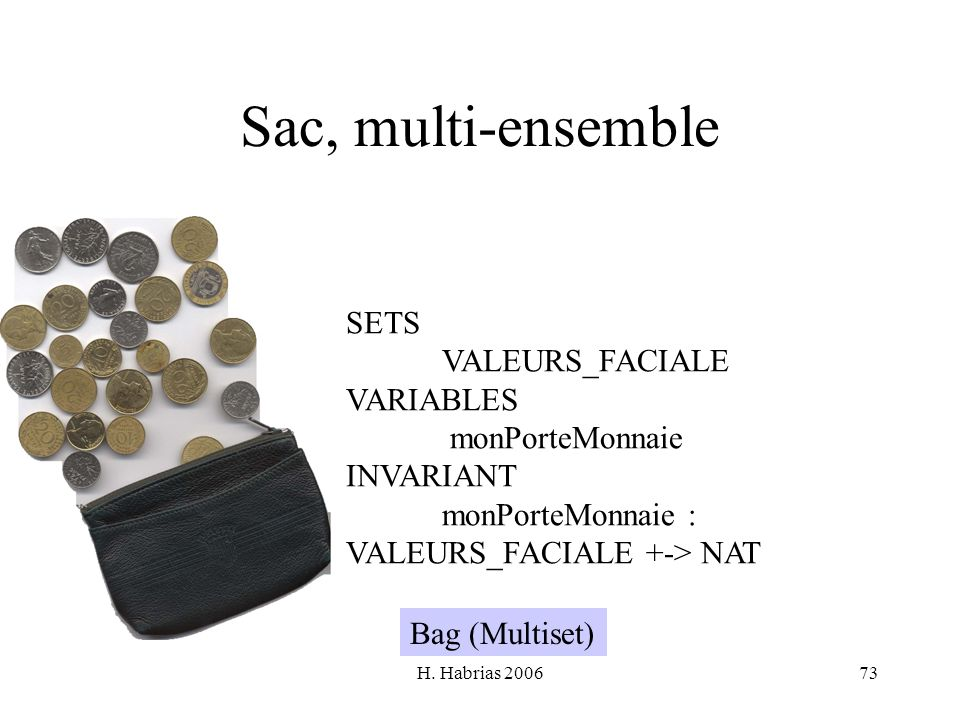 H. Habrias 200673 Sac, multi-ensemble SETS VALEURS_FACIALE VARIABLES monPorteMonnaie INVARIANT monPorteMonnaie : VALEURS_FACIALE +-> NAT Bag (Multiset