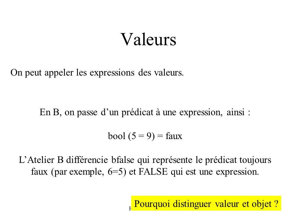 H. Habrias 200681 Valeurs On peut appeler les expressions des valeurs. En B, on passe dun prédicat à une expression, ainsi : bool (5 = 9) = faux LAtel