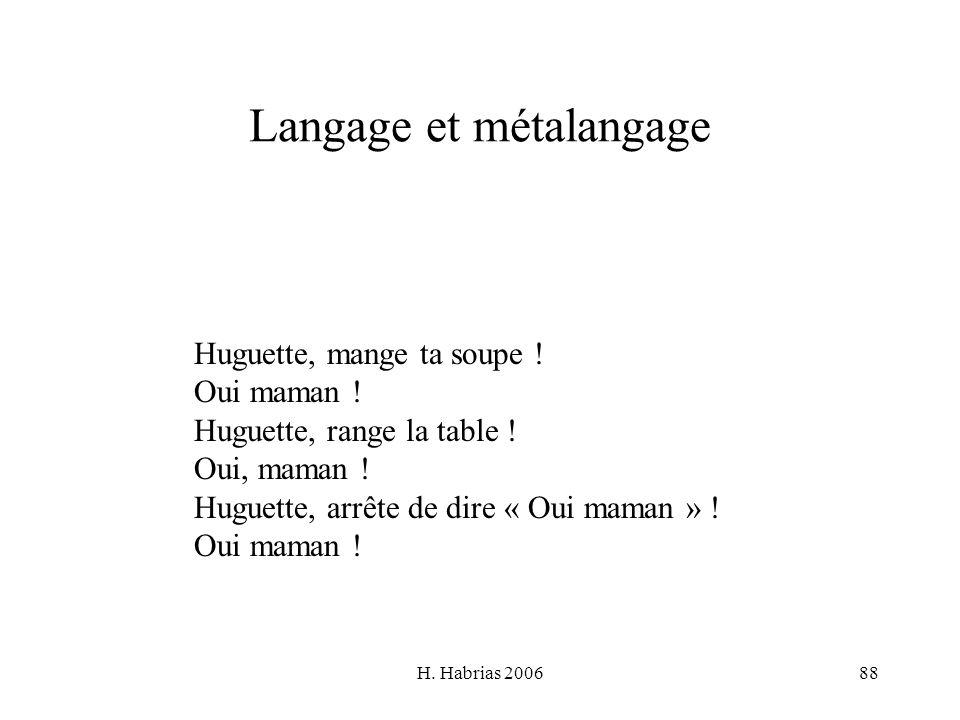 H. Habrias 200688 Langage et métalangage Huguette, mange ta soupe ! Oui maman ! Huguette, range la table ! Oui, maman ! Huguette, arrête de dire « Oui